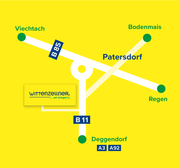 Anfahrt zu Anton Wittenzellner KG in Patersdorf